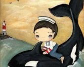 Sailor Print Whale Art Children Nursery Boy Nautical Wall Art ---Whale Rescue
