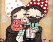 Gnome Print Cute Couple Tree Stump Girl Boy Wall Art---Milkshake For Two  5 x 7