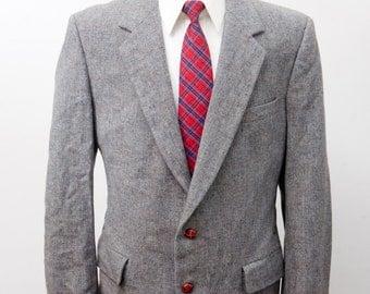 Men's Blazer / Vintage Grey Wool Sport Coat / Size 42 Medium-Large