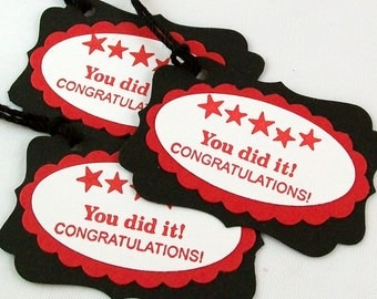 Graduation Tags in School Colors - (Set of 24) - Graduation Party Favors Tags - Congratulations - You Did It
