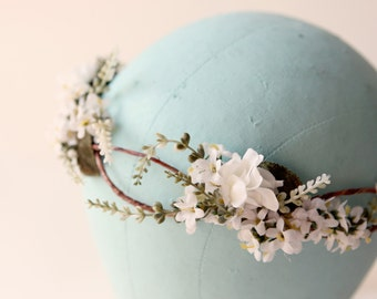 Woodland hair crown, Rustic flower crown, boho wedding head piece, White flower Bridal wreath, Ivory floral headpiece - SONATA
