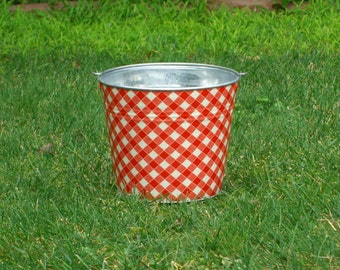 Red and White Picnic Gingham Fabric Covered Galvanized Pail