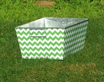 Kiwi Green and White Chevron Galvanized Tub Rectangular Storage Bin