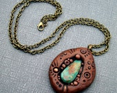 Super SALE! Turquoise and Polymer Clay Wearable Art Pendant Unisex Jewelry