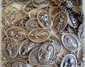 1 Saint Medal, Your Choice, Patron Saint Charm, Holy Medal, Catholic Jewelry Supply, Rosary Parts