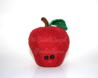 Red Apple Fruit Plush Food, with Pink Happy Smile, Great for Teacher Gifts, Stuffed Apple Plushie, MADE TO ORDER