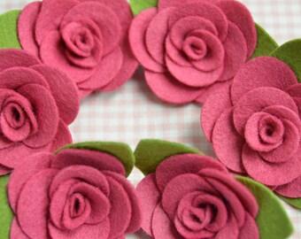 Set of 6pcs felt flower--lipstick (FT982)