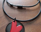 Heart Necklace, XOXO, Red Heart Pendant, Enamel Heart Jewelry, Red and Black Copper Enamel Gift for Her