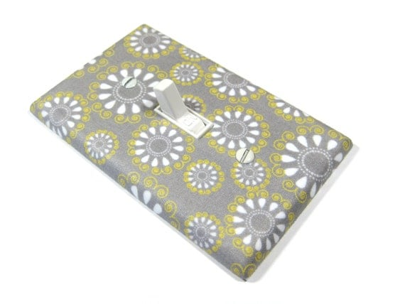 Gray White and Yellow Flowers Light Switch Cover Girl Nursery Decor Girl Bedroom Switchplate Switch Plate