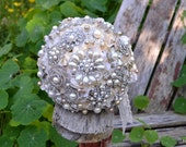 Deposit on a champagne pearl brooch bridal bouquet--made to order wedding bouquet