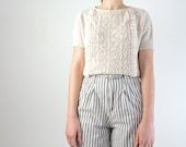 Lace Sweater - Cream Pointelle Knit Sweater