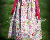 Girls Pillowcase Dress Bodilla Print with Fuschia Ribbon Ties Sz 6mo, 12mo, 18mo, 2T, 3T, 4T, 5 Sz 6, 7, 8 Three Dollars More