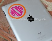 Two Color Circle Monogrammed Vinyl Decal