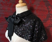 Midnight Capelet - Iridescent Black Sequined Capelet with Silk Pussy Bow - To order