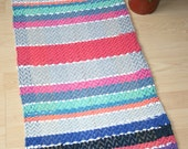 SCANDINAVIAN STYLE III -- Hand-woven rug or table runner with blue, salmon, pink, purple, gray, orange, black