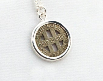Honolulu Hawaii Transit Token Sterling Silver Pendant and Necklace, Authentic Token