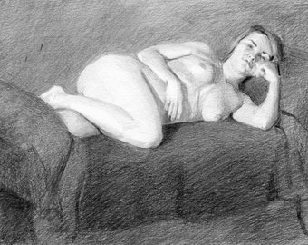 Original Female Nude Life Drawing in Graphite - Jacy Reclining