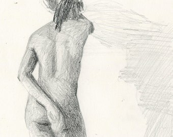 Original Female Nude Life Drawing in Graphite - Woman Leaning on a Wall