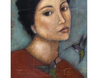 Hummingbird Portrait - Art Print of Mixed Media Acrylic Painting - Wall Hanging Art Decor By Tamara Adams