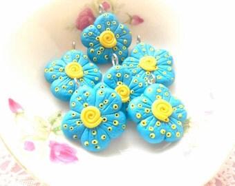 Flower Charm Spring Series - 6pcs - Sky Blue