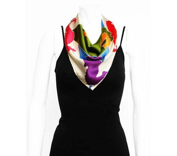 Seahorse scarf, Batik scarf, Handmade scarf, Colorful silk scarf, art to wear, Girlfriend Gift, Womens Silk Scarf, Cute gift for girlfriend