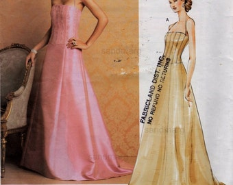Vogue 2732 American Designer Badgley Mischka  Evening Red Carpet Wedding Bridal Gown Sewing Pattern  Sizes 12 14 16 Uncut