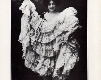 Saharet Australian Ziegfield Follies Can Can Follies Begere  Dancer  Black and White Portrait for Framing