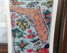 1912 vintage FLORIDA illustrated map  - colorful and lovely