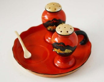 Vintage Trico China Salt and Pepper Set with Serving Tray and Spoon - Hand Decorated Nagoya Japan