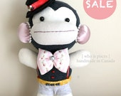 SALE- 20% OFF-  Sock Monkey- Collectible- handmade in Canada -8.75 inches