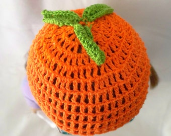 Crochet Doll Hat Delicious Ripe Orange Fits 18 inch doll
