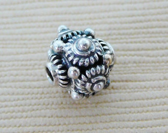 Sterling Silver Bead, Oxidized Patina Round dot design