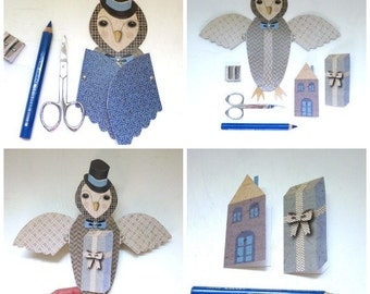 DIY Owl Home Housewarming Fold Out Wing Card Gray, Blue Home, Gift Box, Top Hat, Cute Animals