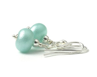 Pearly Blue Earrings | Sterling Silver and Lampwork | Gift boxed