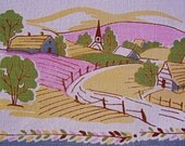 Vintage 40s 50s Tablecloth Sweet Early American Theme