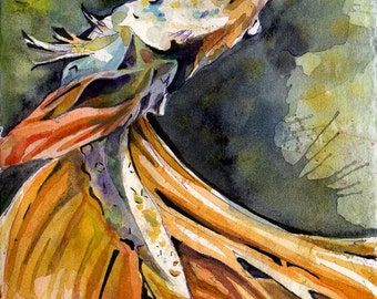 Reproduction of Yellow Betta Fish - Print of Original Watercolor on Paper Painting by Jen Tracy - Under Water Wall Art