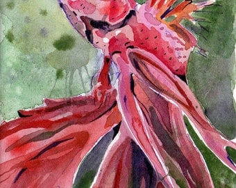 Painting of Red Betta Fish - Original Watercolor on Paper Art by Jen Tracy