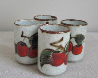Vintage 1970s Set of Four Stoneware Hand Glazed Cherry Tomatoe Themed Glasses