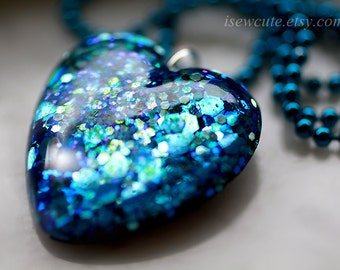 Aquamarine Navy Blue Resin Glitter Heart Pendant Necklace - cute resin jewelry for her - chain included - handcrafted by isewcute