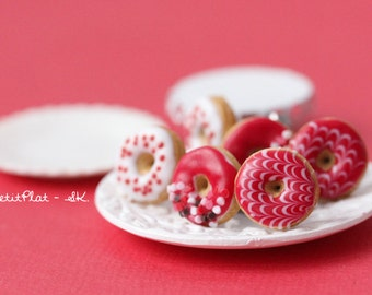 Red Donut Earrings - Food Jewelry - Donut Collection