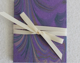 Mini Accordion Book or Card / Marbled Purple / by PrairiePeasant
