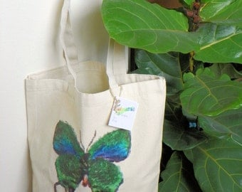 Watercolor Blue Swallowtail Butterfly Canvas Tote Bag - Shabby Chic, Distressed, Vintage Look