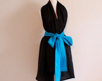 one of the kind linen chic halter dress knee length ready to ship