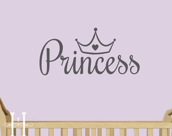 Custom Any name Wall Decal with Tiara Crown  - 18 X 8 - Childrens room, baby wall decals for Nursery