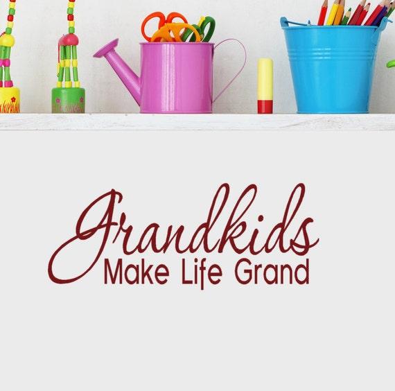 Gift for Grandma Grandkids Make Life Grand Wall Decal Sticker Cute Grandma Gifts Grandchildren Quotes Grand Kids Sign Vinyl Decal Stickers
