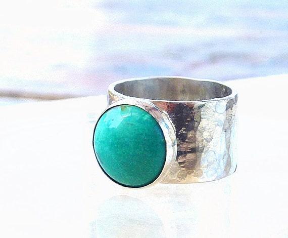 Turquoise Ring, Artisan Ring, Gemstone Ring, cocktail ring, Sterling silver Ring, Black Friday Etsy