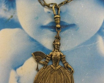 Large Marie Antoinette Brass Ox Plated Stamping with hang hole or without  381BOX x1