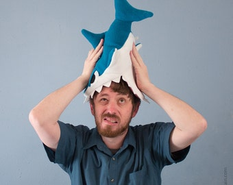 Plush Fleece Shark Hat - Dark Teal CHOMP CHOMP CHOMP