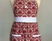 Eleanor - Red Damask Full Apron