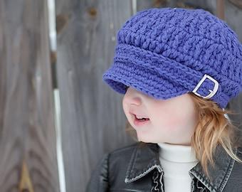 Toddler Girl Newsboy Hat 1T to 2T Toddler Girl Hat Purple Toddler Hat Toddler Newsboy Cap Crochet Newsboy Purple Newsboy Purple Hat Buckle